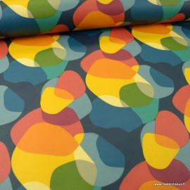 Tissu coton enduit Sixties multicouleur -  Oeko tex