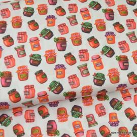 Tissu popeline coton motifs pots de confitures fond écru - oeko tex