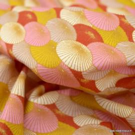 Tissu Coton Oeko tex motifs ombrelle Rose - Oeko tex