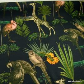 Toile de coton type Canva katavi motifs animaux exotique fond noir - oeko tex