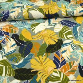Tissu Viscose Rayon motif feuillage terracotta