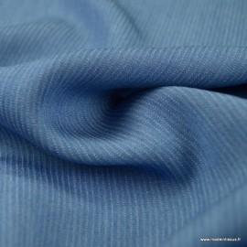 Tissu Viscose chambray à rayures bleu jean clair