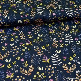 Tissu Popeline en coton Bio & oeko tex motifs fleurs fond marine