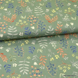 Tissu Popeline en coton Bio & oeko tex motifs fleurs fond Céladon