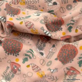 Tissu jersey BIO motifs animaux marins fond vieux rose