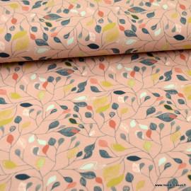 Tissu jersey BIO motifs fleurs fond rose - oeko tex