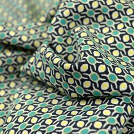 Tissu jersey BIO motifs cercles retro navy - oeko tex