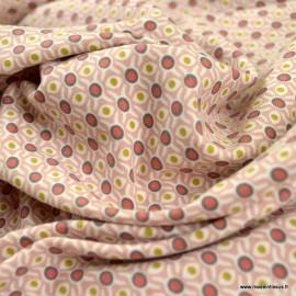 Tissu jersey BIO motifs cercles retro vieux rose - oeko tex