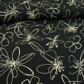 Tissu Cupro et  Viscose motifs fleurs fond noir - Oeko tex
