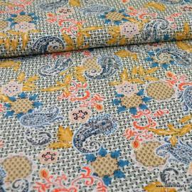 Tissu Viscose chally motifs cachemire saumon et turquoise