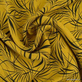 Tissu Cupro motifs feuillage fond Ocre - Oeko tex