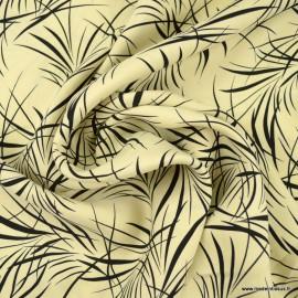 Tissu Cupro motifs feuillage fond écru - Oeko tex