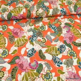 Tissu Jersey Viscose motif fleurs orangées