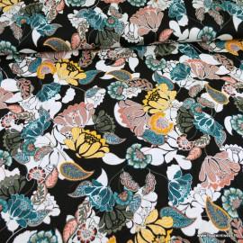 Tissu Jersey Viscose motif fleurs fond noir