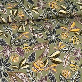 Tissu Jersey Viscose motif fleurs et feuillage fond kaki
