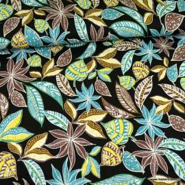 Tissu Jersey Viscose motif fleurs et feuillage fond noir