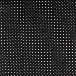 Tissu Popeline coton noir imprimé petit pois