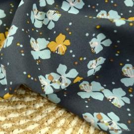 Tissu Viscose Kamini fleurs baltique fond Plomb - Oeko tex
