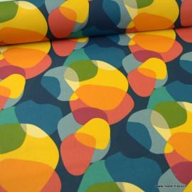 Tissu coton imprimé Sixties multicouleur - oeko tex