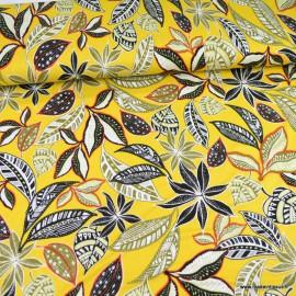 Tissu Jersey Viscose motif fleurs et feuillage fond Jaune