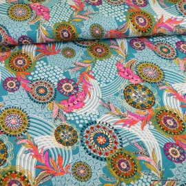 Tissu Jersey Viscose motif rosace bleu océan