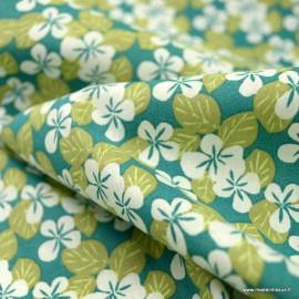 Tissu coton Carlota motifs fleurs Turquoises - oeko tex