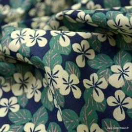 Tissu coton Carlota motifs fleurs marine et rose - oeko tex