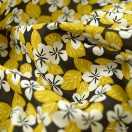 Tissu coton Carlota motifs fleurs moutarde - oeko tex