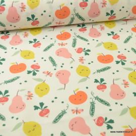 Tissu coton Veggy motifs pommes, citrons et radis - Oeko tex