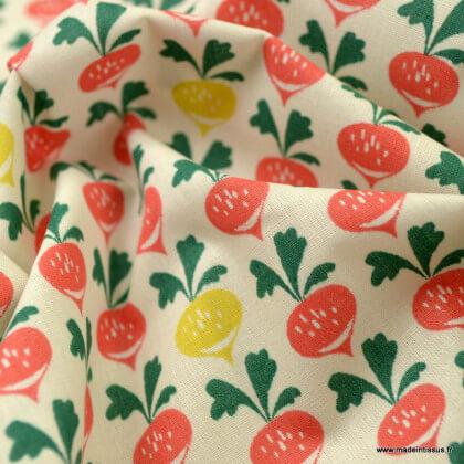 Tissu coton Radiz motifs radis - Oeko tex