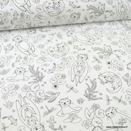 Tissu à colorier motifs loutres - Oeko tex