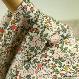 Voile de coton Bio Gots & oeko tex motifs fleurs rose, vert et brique