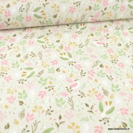 Tissu oeko tex coton Huppy motifs fleurs et oiseaux fond grège