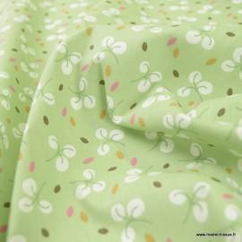 Tissu oeko tex coton Bulhup motifs fleurs fond tilleul