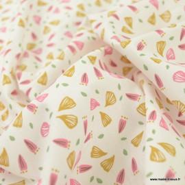 Tissu oeko tex coton Hubico motifs fleurs bonbon et tilleul