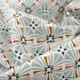 Tissu coton Capucine imprimé rosaces Sauge - Oeko tex