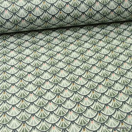 Tissu coton Jacinthe imprimé écailles grises - Oeko tex
