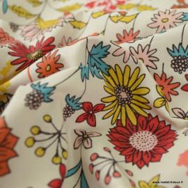 Tissu coton Valentine Enduit coloris Ivoire - Oeko tex