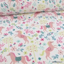 Tissu cretonne coton Tiana motifs chevaux Bleu, rose et vert - oeko tex