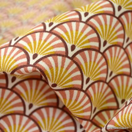 Tissu demi natté coton motifs écailles Athy coloris Marsala - oeko tex