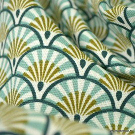 Tissu demi natté coton motifs écailles Athy coloris Nil et kaki - oeko tex