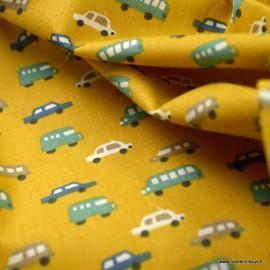 Tissu coton Luigi imprimé voiture fond moutarde - Oeko tex