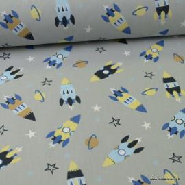 Tissu coton motifs Fusées fond gris - Oeko tex
