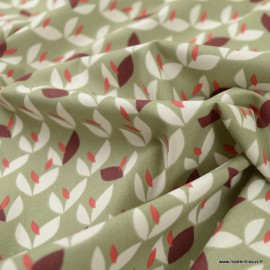 Tissu coton Vaya motifs feuille fond Tilleul - Oeko tex