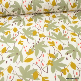 Tissu coton Ydori motifs feuillage Mastic et Tilleul - Oeko tex