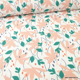 Tissu coton Ydori motifs feuillage Mastic et Pêche - Oeko tex