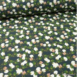 Tissu coton motif Kisnek fond vert et nuit - Oeko tex