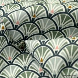 Tissu coton Enduit  imprimé écailles grises - Jacinthe -  Oeko tex