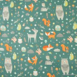 Tissu coton Faline motifs animaux de la forêt fond Emeraude - Oeko tex
