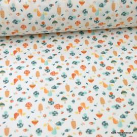 Tissu coton Fungo motifs champignons bleu - Oeko tex
